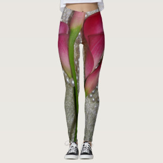 Calla Lily Flowers Pearls All Over Print Leggings