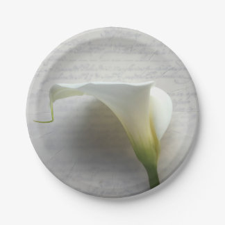 Calla lily on old handwriting 7 inch paper plate