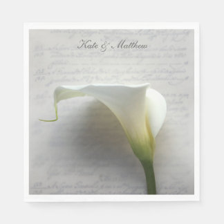 Calla lily on old handwriting napkin