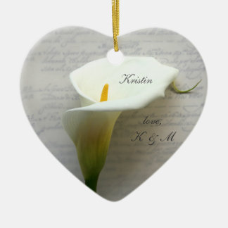 Calla lily on old handwriting ceramic heart ornament