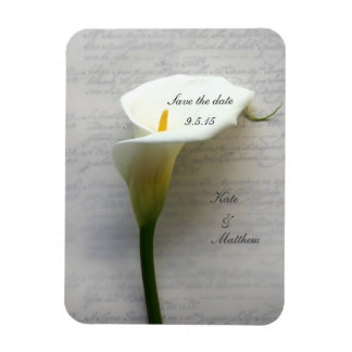 Calla lily on old handwriting rectangular photo magnet