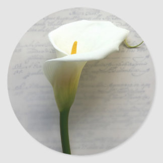 calla lily on old handwriting round stickers