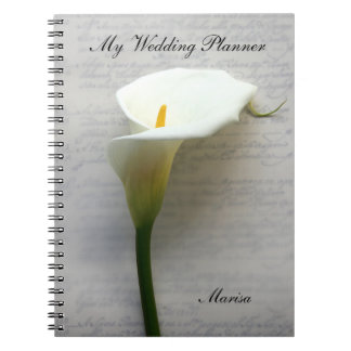 Calla lily on old handwriting spiral note book