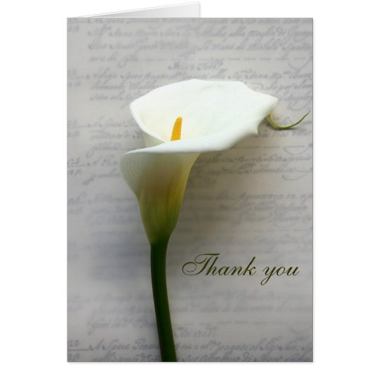 calla lily on old handwriting thank you card