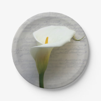 Calla lily on old script paper plate