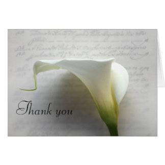 calla lily on old script thank you card