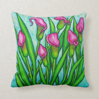 "Calla Lily Polyester Throw Pillow 16"" x 16"""