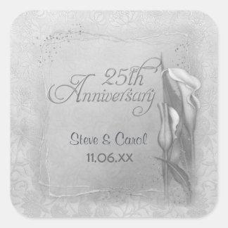 Calla Lily Silver Anniversary Square Sticker