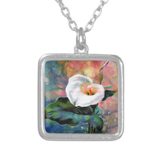 CALLA LILY SILVER PLATED NECKLACE
