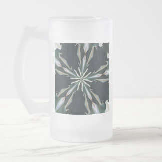 Calla Lily Star Kaleidoscope Frosted Glass Beer Mug