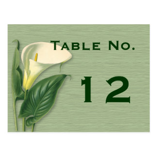Calla Lily Table Number Card