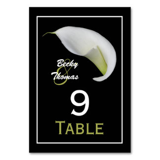 Calla Lily Wedding Table Numbers Cards