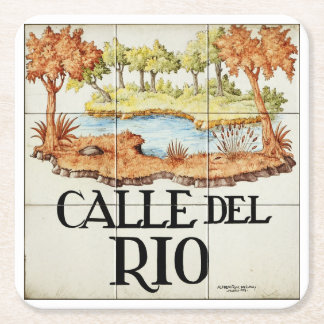 Calle del Rio street sign from Madrid Square Paper Coaster