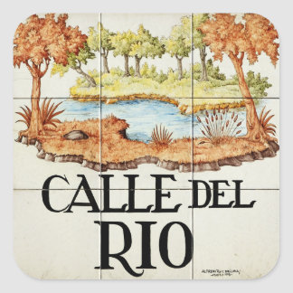 Calle del Rio street sign from Madrid Square Sticker