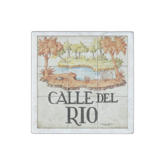 Calle del Rio street sign from Madrid Stone Magnets