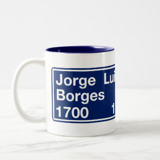 Calle Jorge Luis Borges, Buenos Aires Street Sign Two-Tone Coffee Mug