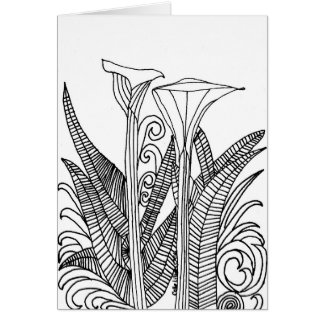 "Calle Lillies Coloring Picture 5"" x 7"" Blank Card"