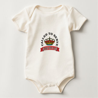 called to serve the heavenly king of glory red baby bodysuit