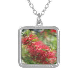 Calliandra Haematocephala Red Powderpuff Silver Plated Necklace