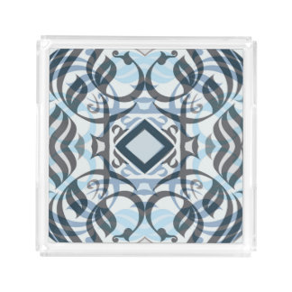 Calligraphic Acrylic Tray in Layered Blue