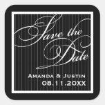 Calligraphic Black Pinstripe Save the Date Square Stickers