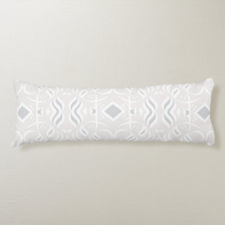Calligraphic Body Pillow in White and Gray