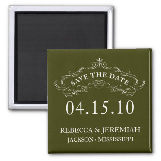 Calligraphic Flourish Save the Date Magnet