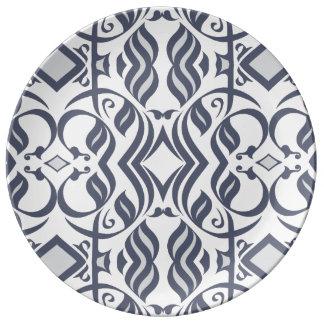 Calligraphic Plate in Indigo