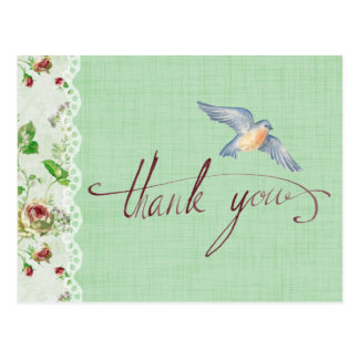 Calligraphic Thank You with Flowers and Bird Postcard