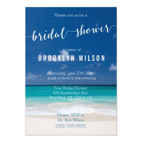 Calligraphy Beach Bridal Shower Invitations