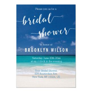 Calligraphy Beach Bridal Shower Invitations