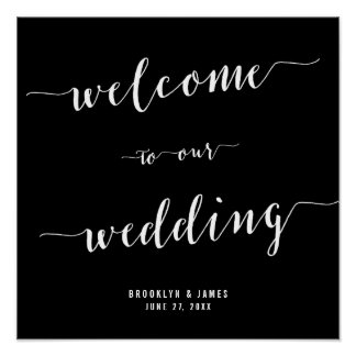 Calligraphy Black Wedding Reception Sign 15x15 Poster