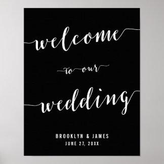 Calligraphy Black Wedding Reception Sign Print