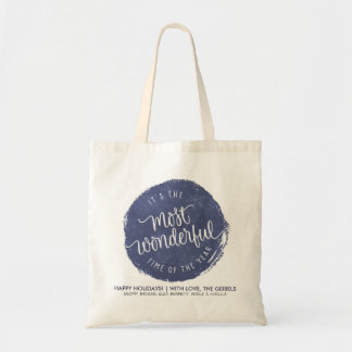 Calligraphy Blue Christmas Badge Gift Tote Bag