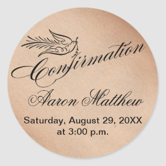 Calligraphy Confirmation and Dove Classic Round Sticker
