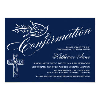 """Calligraphy Confirmation with Cross and Dove 5"""" X 7"""" Invitation Card"""