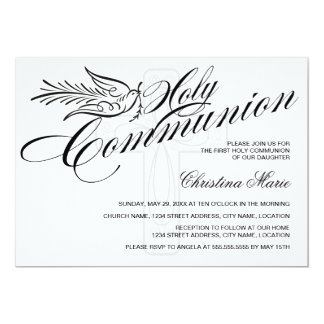 Calligraphy Dove and Cross First Holy Communion Card