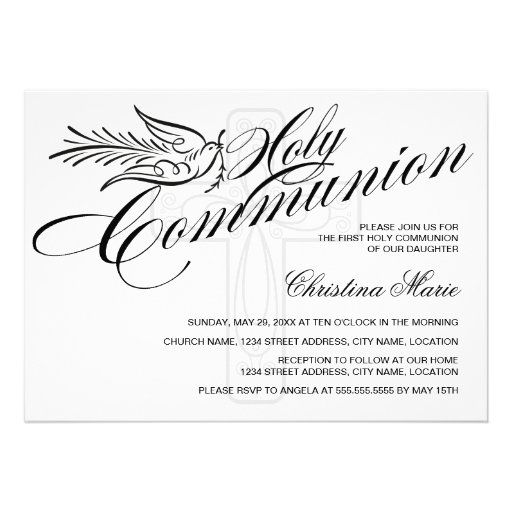 Calligraphy Dove and Cross First Holy Communion Invites