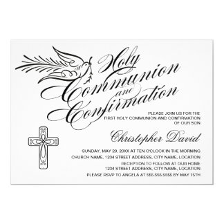 "Calligraphy Dove Holy Communion and Confirmation 5"" X 7"" Invitation Card"