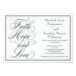 Calligraphy Faith Hope Love Wedding Invitation