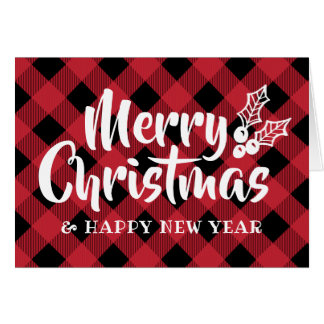 Calligraphy Holly Christmas Red Plaid Folded Card