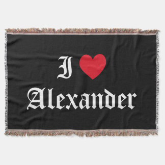 Calligraphy I Love Alexander Throw Blanket