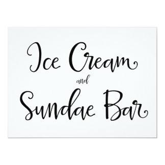 "Calligraphy | ""Ice Cream and Sundae Bar"" Sign 6.5"" X 8.75"" Invitation Card"