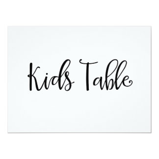 "Calligraphy | ""Kids Table"" Wedding Sign Card"