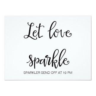"Calligraphy | ""Let Love Sparkle sign"" Wedding sign Card"