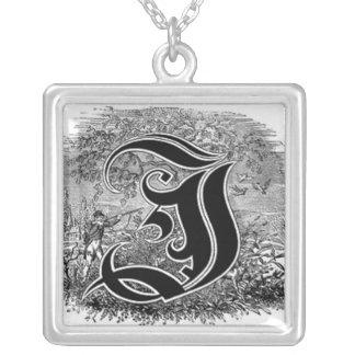 Calligraphy Letter I or J Necklace