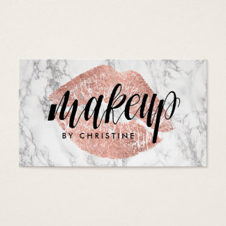 calligraphy makeup on rose gold lips business card