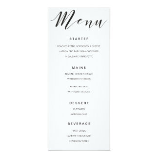 Calligraphy Menu black and white template