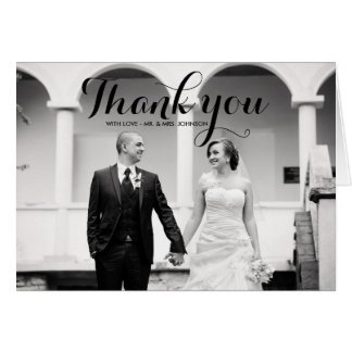 Calligraphy Script Photo Wedding Thank You Card