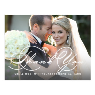 Calligraphy Script Photo Wedding Thank You Postcard